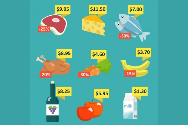 Set of Vector Supermarket Food and Drink Icons