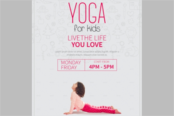 Set of Yoga for Kids Flyer Designs