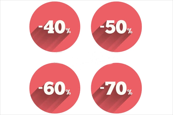 Special Offer Price Percent off Reduction Icons
