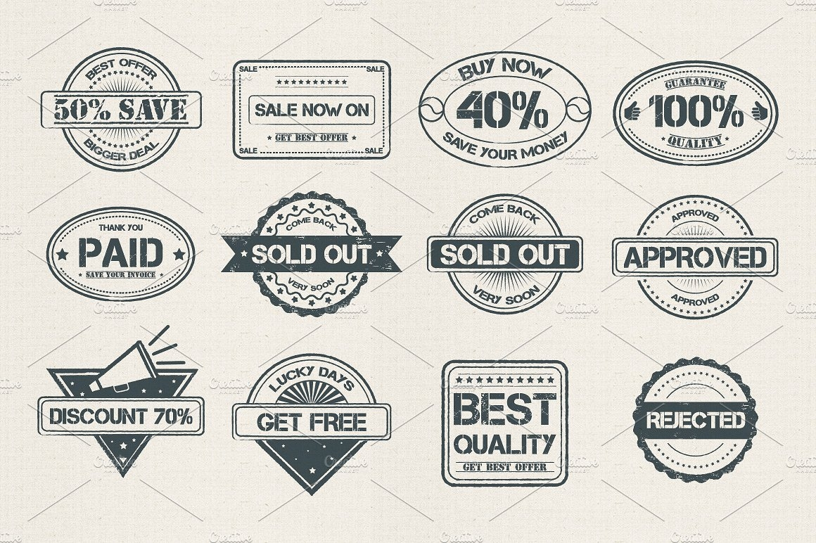 Stamp Style Discount and Commercial Badges and Icons