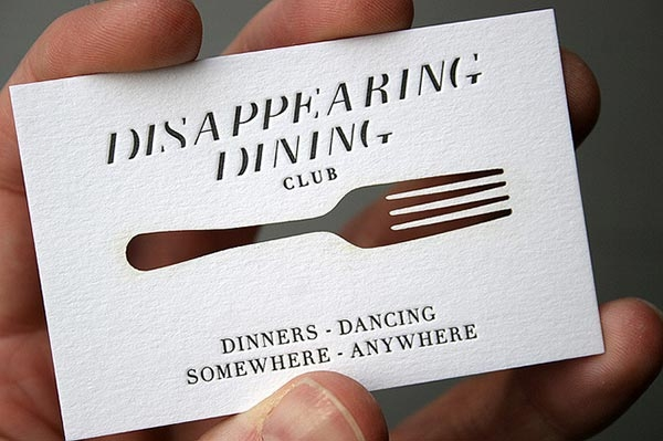 Disappearing Dining Club Laser-cut Business Card