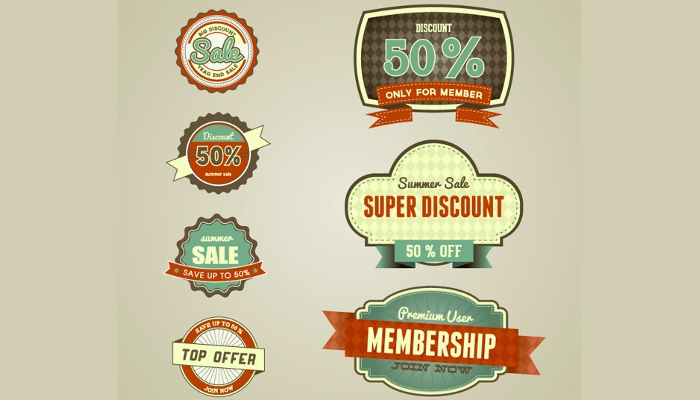 Vintage Design Style Discount For Members Only Labels & Icons