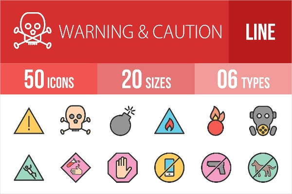 Warning Caution Line Filled Icon Designs