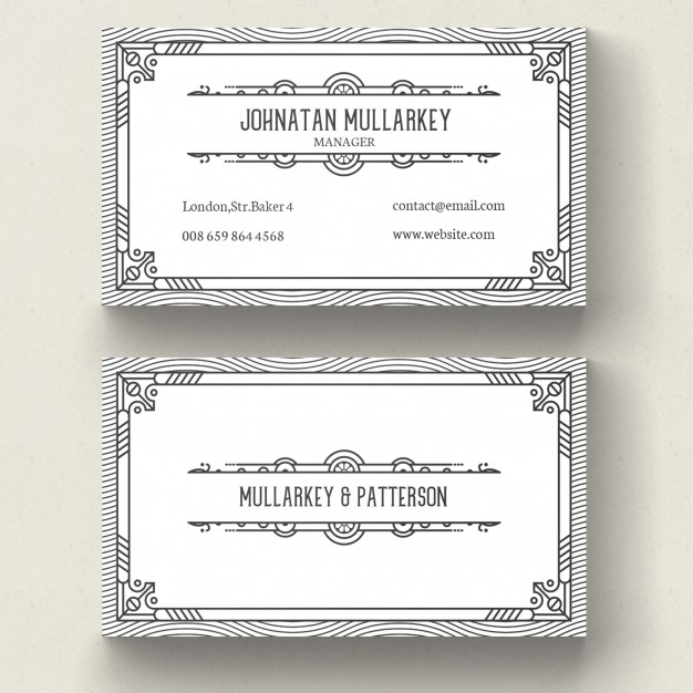 Business Card in an Art Deco Design Style