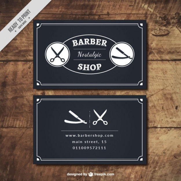 Retro Barber Shop Business Card Design in the color Black