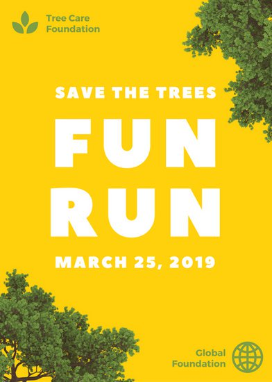 canva yellow tree cutout fun run fundraiser flyer macali3xcws