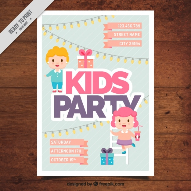 kid-party-invitation-in-flat-design_23-2147587675
