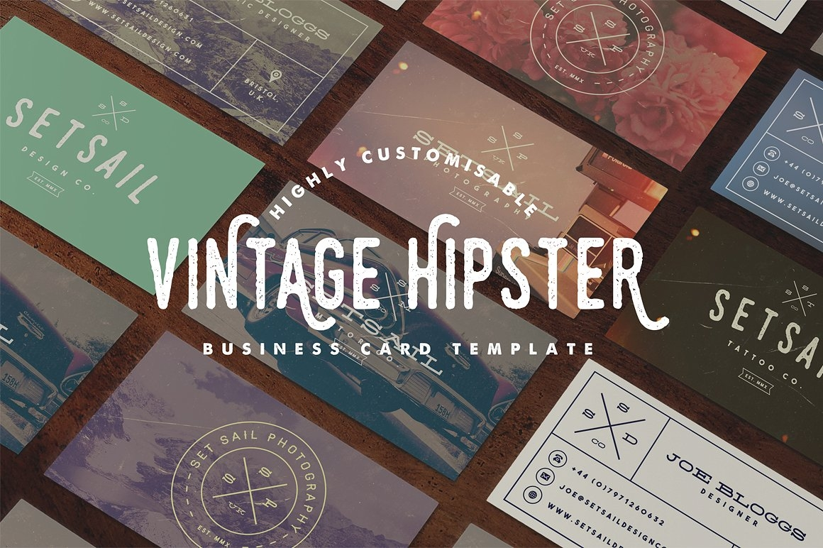 Highly Customizable Vintage Hipster Business Card Templates