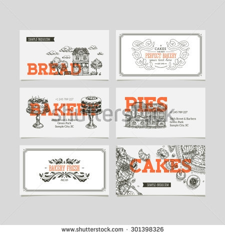 stock vector bakery business cards vector illustration 301398326