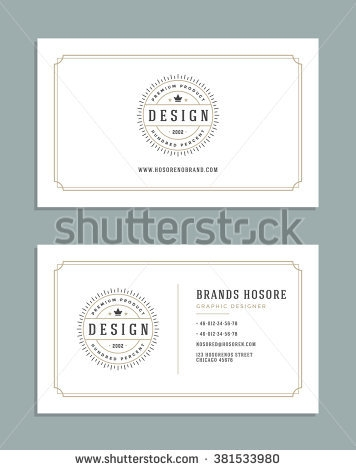 stock vector business card design and king crown logo template vector design element vintage style for logotype 381533980