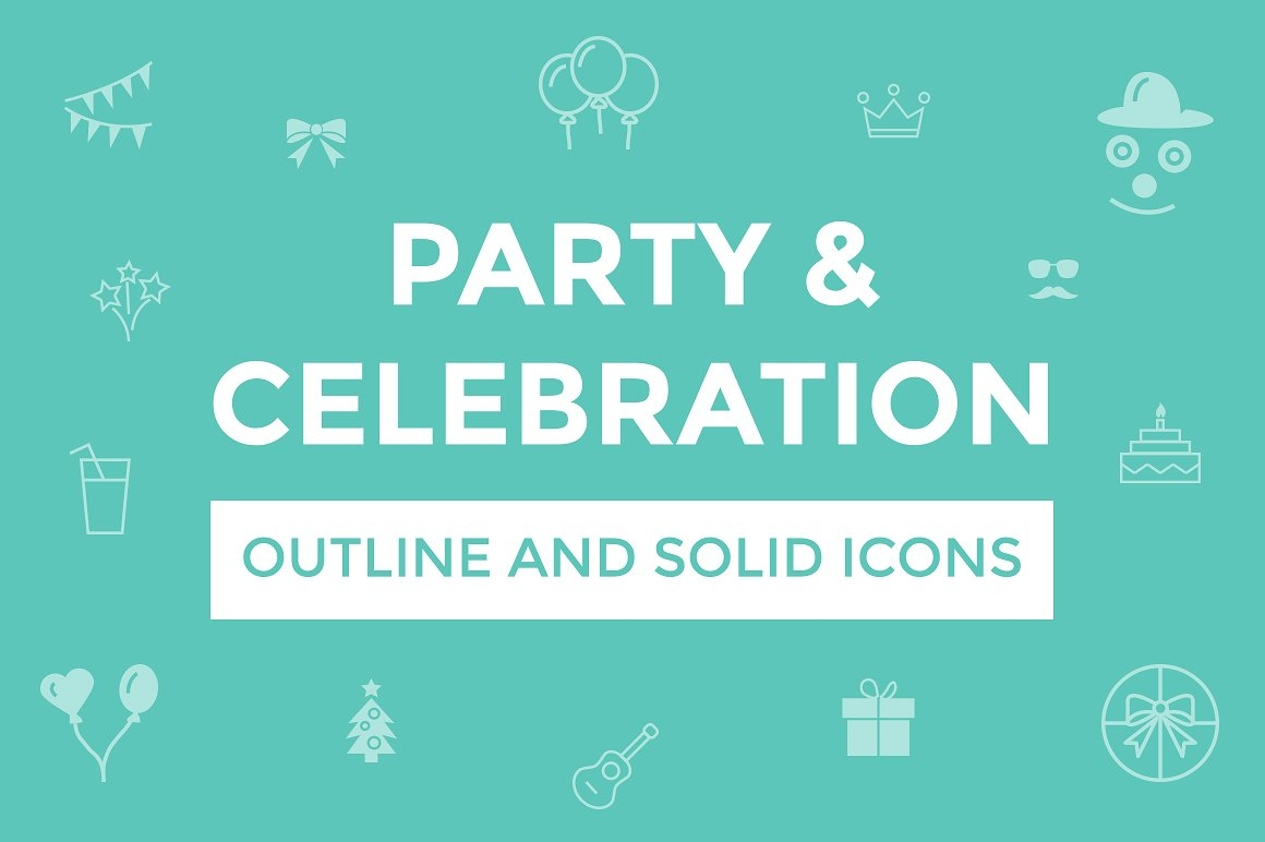 160 Solid and Outlined Party and Celebration Vector Icon Designs
