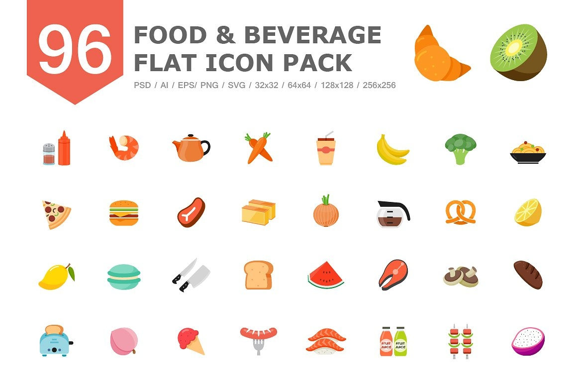 96 Food & Beverage Color Flat Icons | PSD, AI, EPS, PNG, SVG