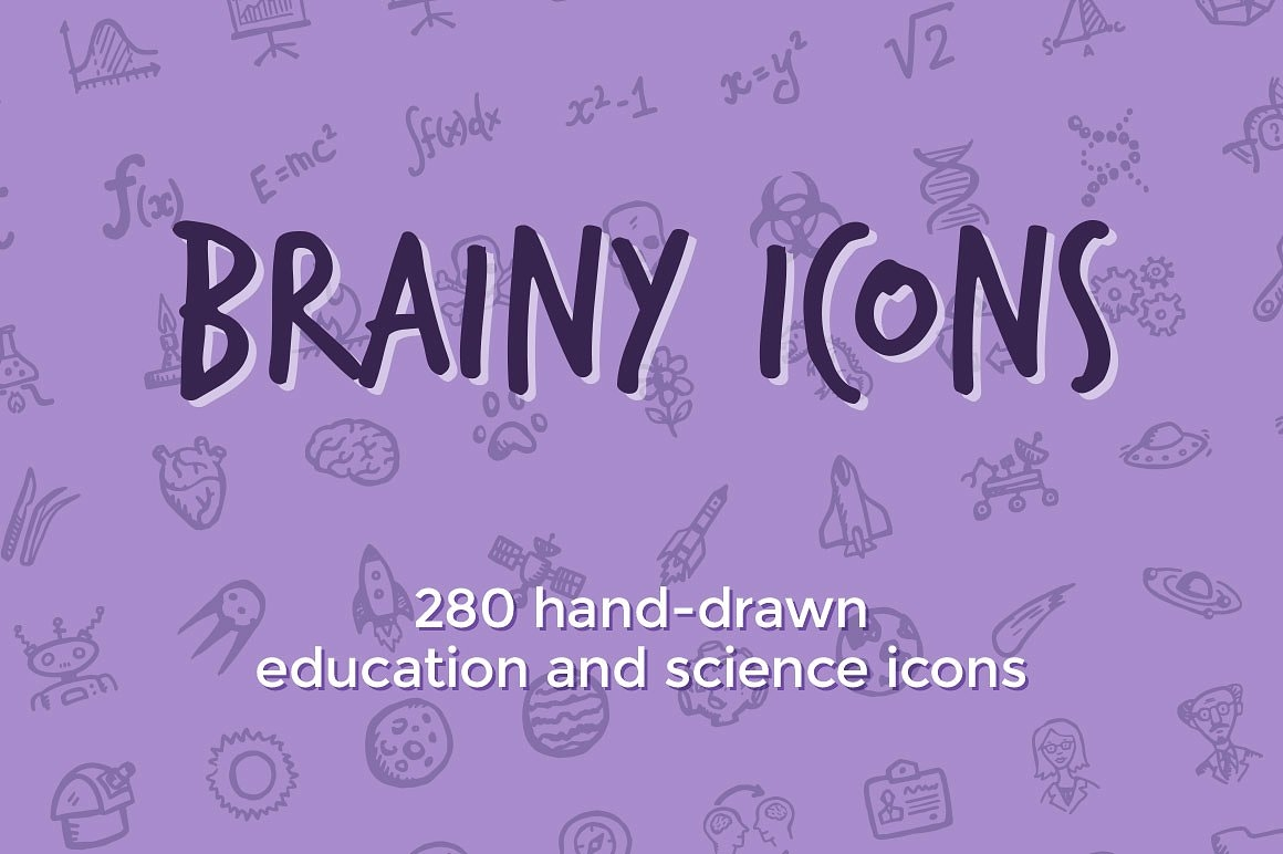 Brainy, Hand drawn Education and Science Icon Designs