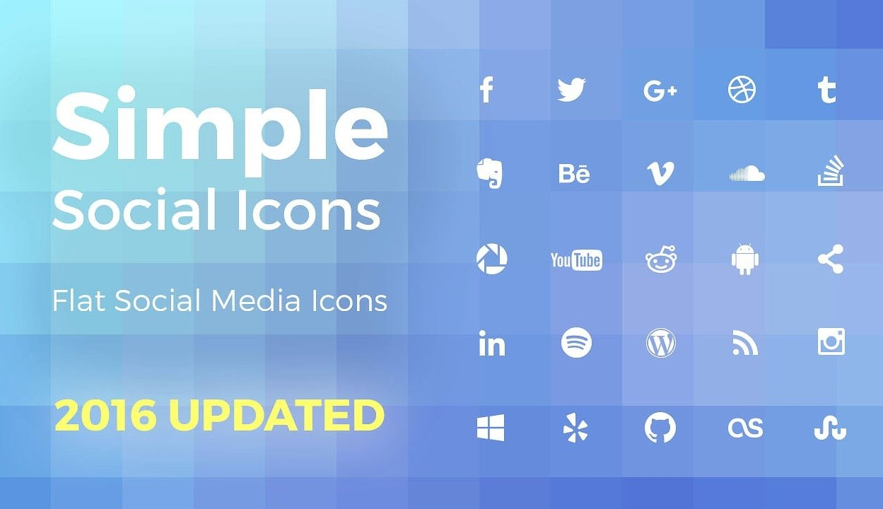 Simple and Flat Social Media Icons: High Resolution Vector Shapes for Photoshop