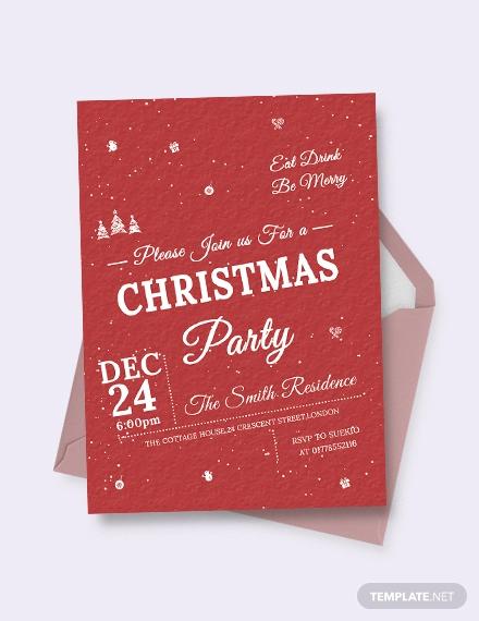 free retro christmas invitation template