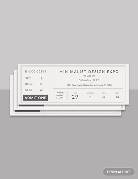 free minimalist ticket template