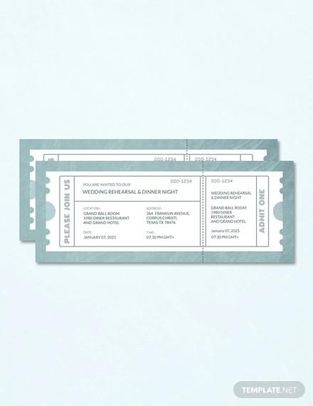 wedding rehearsal dinner ticket template